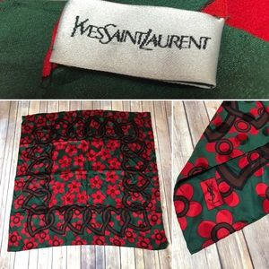 Vintage Yves Saint Laurent YSL Green Red Scarf